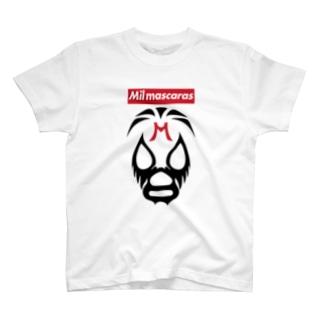 MIL MASCARAS-ミル・マスカラス-赤ボックスロゴ T-shirts