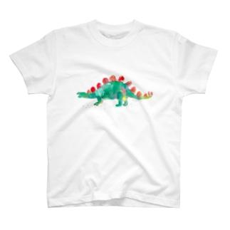 水彩ステゴサウルスTシャツ T-shirts