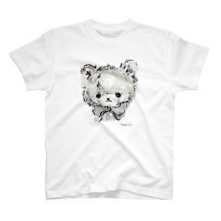 ローズちゃんモノクロイラスト(リボン) T-shirts