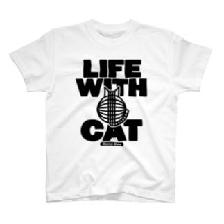 SHOP W SUZURI店のLIFE WITH a CAT Tシャツ T-shirts