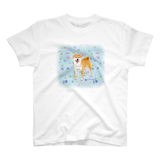 Atelier-Queueの柴犬(青い小花) T-shirts