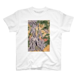 小粋な刺繍『諸国瀧廻り 下野黒山きりふりの滝』 T-shirts