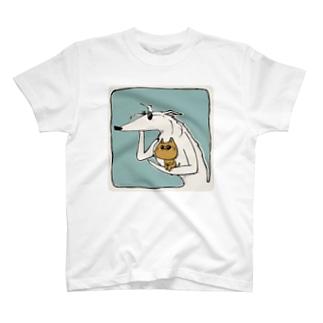 ボルゾイとネコとサングラス T-shirts