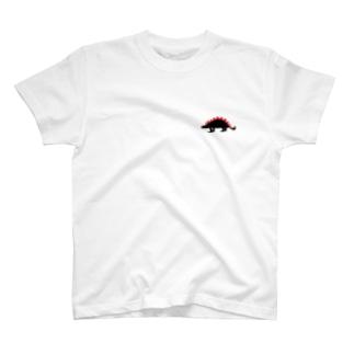赤✖️黒「ステゴサウルス」恐竜Tシャツ T-shirts
