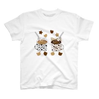 猫のMolとKaron ティーブレイク T-shirts
