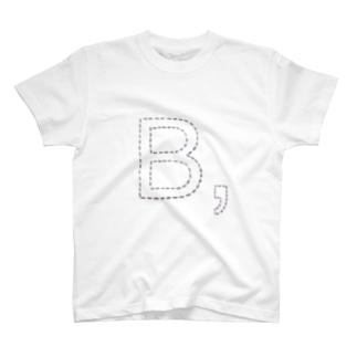 ステッチ風イニシャルB紫ラインTシャツ T-shirts
