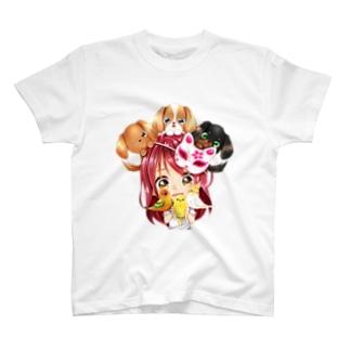 ハッピーアニマル(初期限定デザイン|キャバリア・インコ・犬・鳥) T-shirts