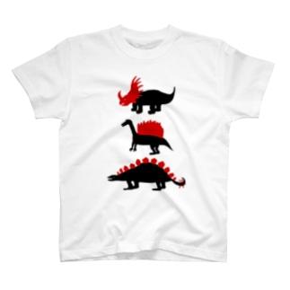 Kanako Okamotoの赤✖️黒恐竜Tシャツ「トリケラトプス・スピノサウルス・ステゴサウルス」 T-shirts