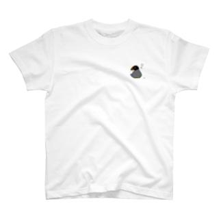豆苗と座りこむ頬黒文鳥 T-shirts