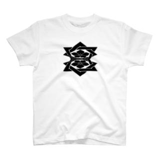 桔梗紋 黒 T-Shirt