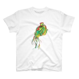 虹色☆彡イカさん(ポスタライズ加工) T-shirts