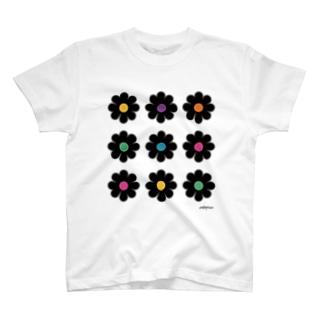 黒いお花たち T-shirts