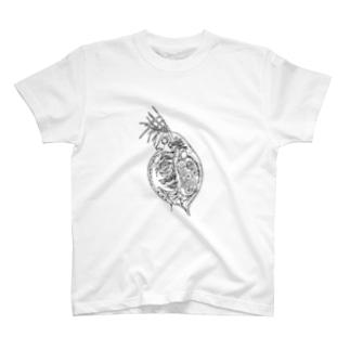 線画ミジンコ T-shirts