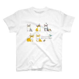 コーギーとヨーロッパコマドリとアオガラと T-shirts