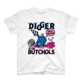 BUTCHOLS DIGGER!Tシャツあお T-shirts