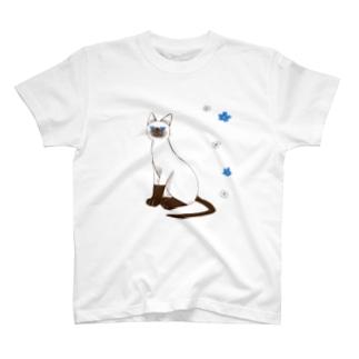 期間限定 青い目の猫と勿忘草Tシャツ T-shirts