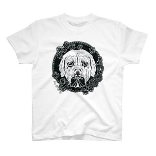 土佐犬と春の花・切り絵 T-shirts