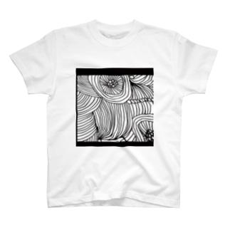 line、flower T-Shirt