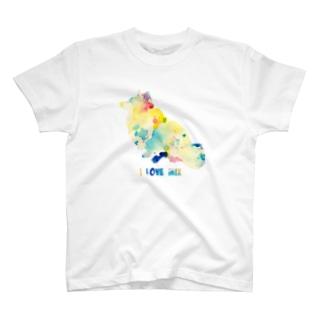 シェルティ×コーギーMIXお座り【パレット】 T-shirts