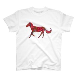 模様動物 うま_red T-shirts