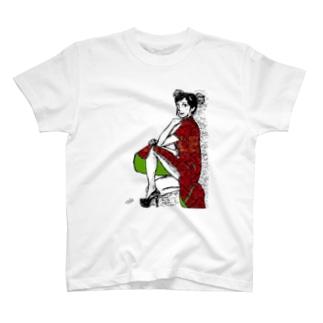 チャイナドレスガール❤(赤) T-shirts