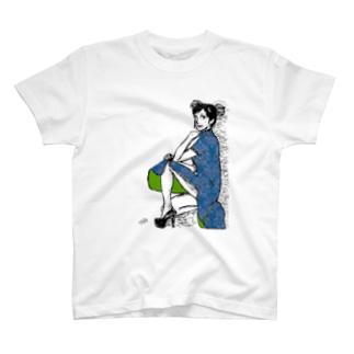 チャイナドレスガール❤(青) T-shirts