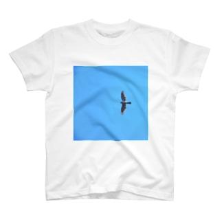 青空にオオタカ T-shirts