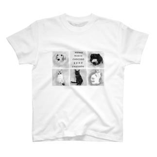 前面プリント 3にゃん&2ワンコ T-shirts