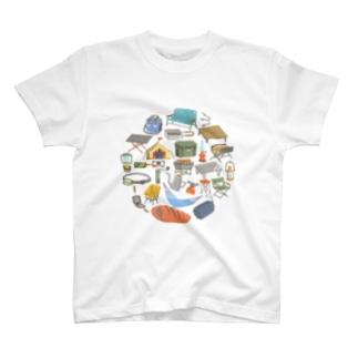 キャンプ道具Tシャツ(サークル) T-shirts