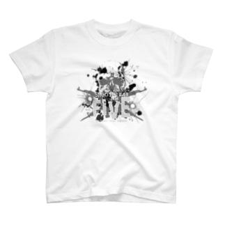 ペンキぶちまけFIVEロゴ(グレー) T-shirts