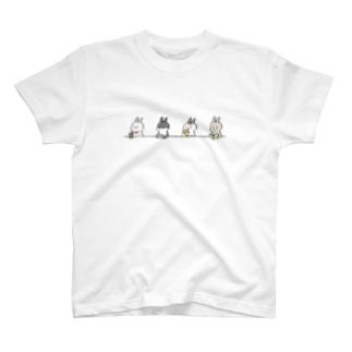 ウサギとカウンター T-shirts