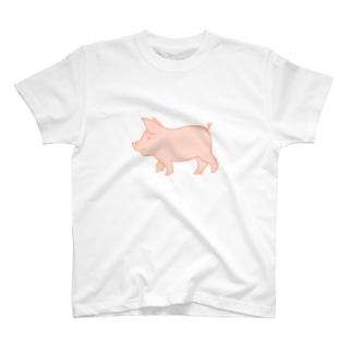 ピンク豚【塗り】 T-shirts