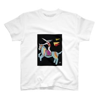 切り絵 うま と 人 T-shirts