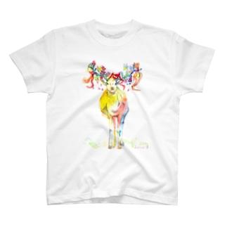 カラフルな鹿さん T-shirts