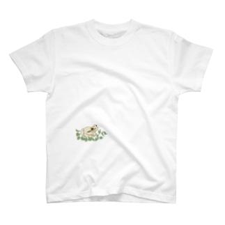 isay-t(文鳥/雀/sparrow/野鳥/カエル/frog/蛙/爬虫類/カメ/キンカチョウなど)の白いカエルと葉っぱ T-shirts