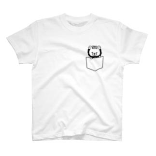 ポケットからいおんTシャツ(モノクロ) T-shirts