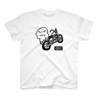 キャンプハーレーイラストTシャツ T-shirts