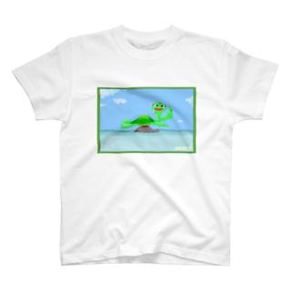 TUNAGU(アメリカン甲羅干しさわやかお顔ver) T-shirts