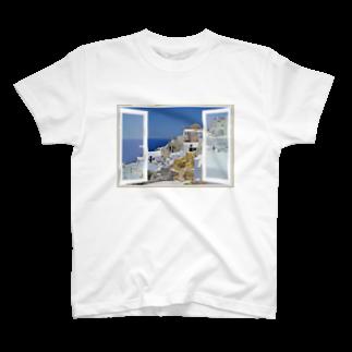 taxiのどこでも窓 エーゲ海サントリーニ島 T-shirts