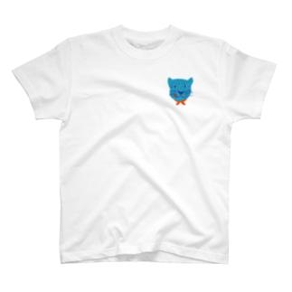 食いしん坊ジャガー青 T-shirts