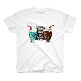 クリームソーダ先輩&コーヒーフロート先生 T-shirts