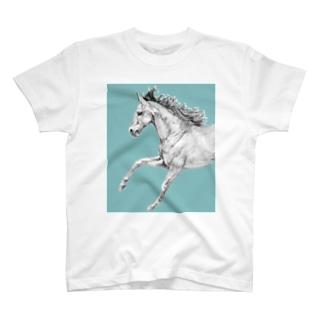 馬の絵の画家 斉藤いつみの馬の素描Tシャツ9 T-shirts