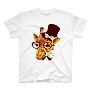 おしゃれ好きなキリン(ジラフ)フェイス-イエロー T-shirts