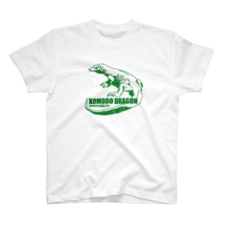 コモドドラゴン グリーン 古着屋パンダ T-shirts
