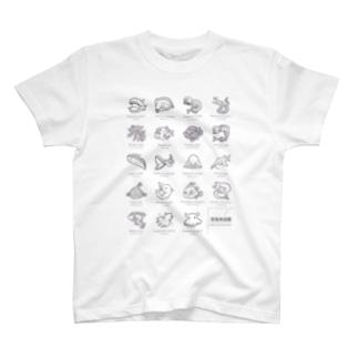 深海魚図鑑 モノクロver T-shirts