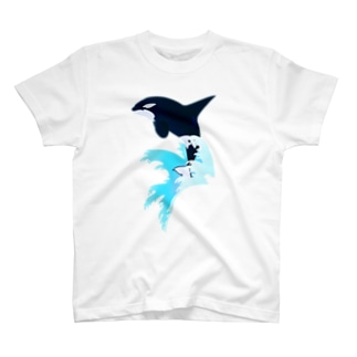 シャチ(波しぶき) T-shirts
