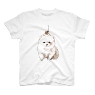 ポメラニアンのプリンちゃん(セピア) T-shirts