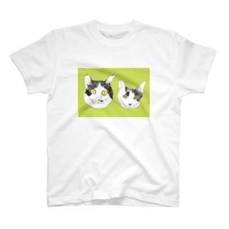 みーこ&てん  猫 白黒猫 イラスト 保護猫 T-shirts