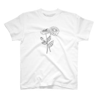 黒デイジー T-shirts