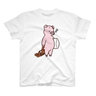 そろそろ寝るブタ(カラー) T-shirts
